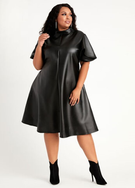 Ashley Stewart Faux Leather Flutter Sleeve Dress in Black - $59.50