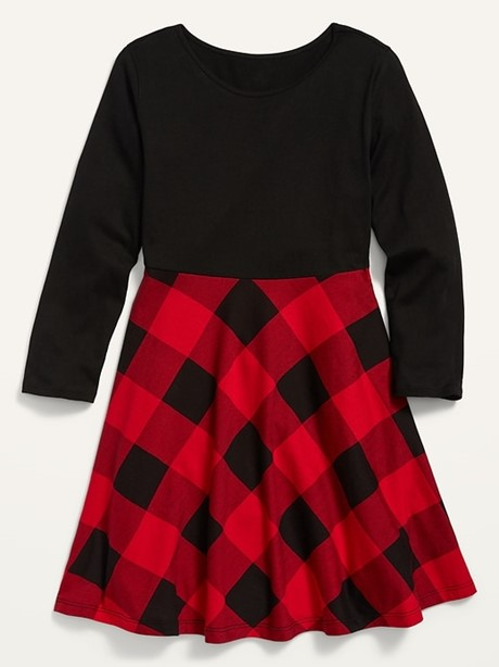 THE FIT & FLARE LONG-SLEEVE JERSEY DRESS FOR GIRLS