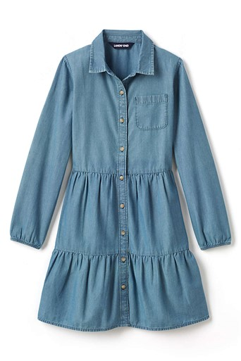 THE GIRLS PLUS SIZE LONG SLEEVE TIERED CHAMBRAY DRESS
