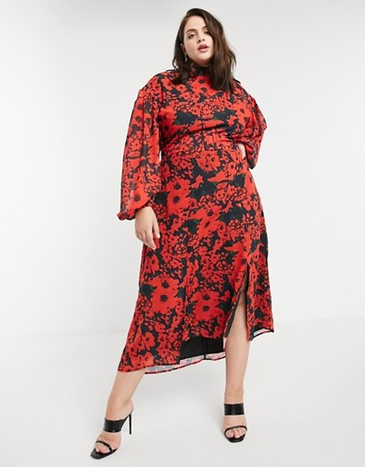 ASOS Hope & Ivy Plus High Neck Belted Midaxi Dress with Open Back in Vibrant Poppy Print - $135.00