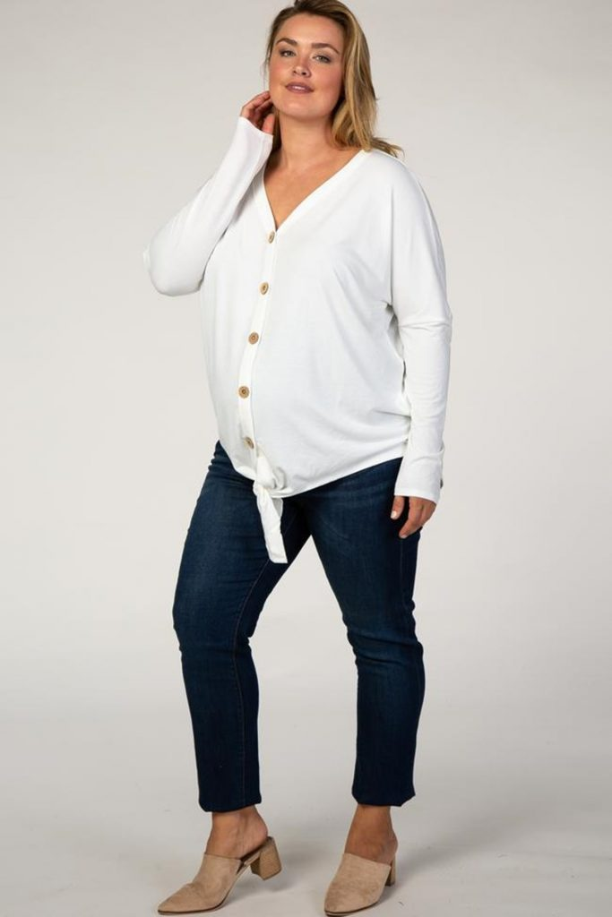 Pink Blush Ivory Button Up Tie Front Maternity Top - $38.00