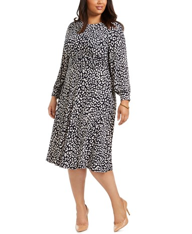 Macy's Jessica Howard Plus Size Printed Long Sleeve Dress - $76.30
