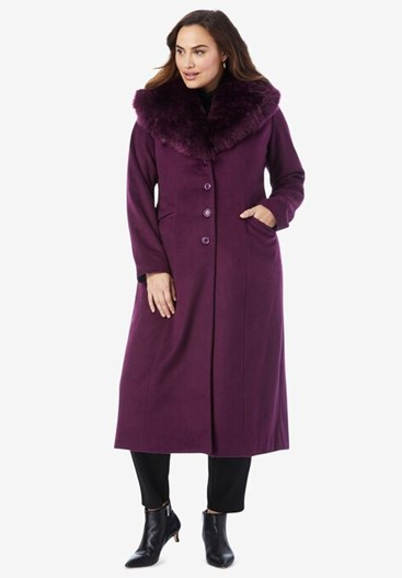 THE JESSICA LONDON LONG WOOL-BLEND COAT WITH FAUX FUR COLLAR