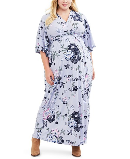 Macy's Jessica Simpson Maternity Plus Size Printed Maxi Dress in Blue Floral - $79.98