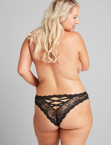 THE LACE STRAPPY BACK TANGA PANTY