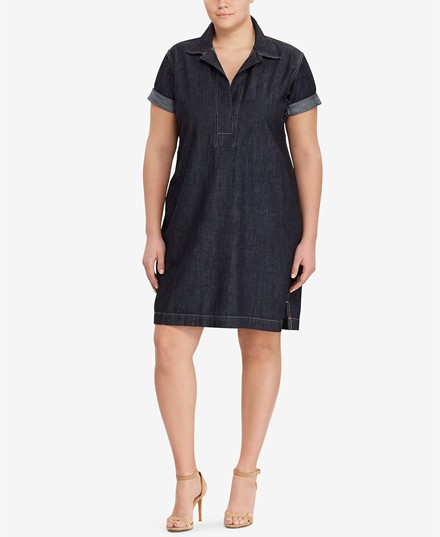 Macy's Lauren by Ralph Lauren Plus Size Cotton Denim Shift Dress - $94.50