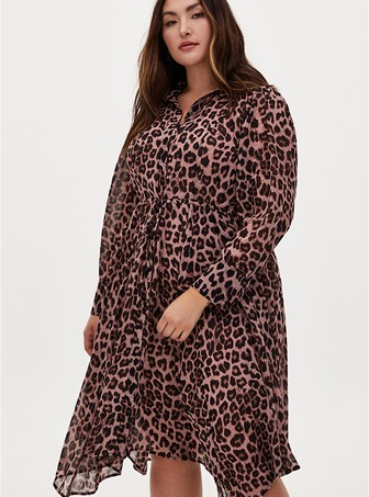 Torrid Leopard Chiffon Midi Shirt Dress - $79.50