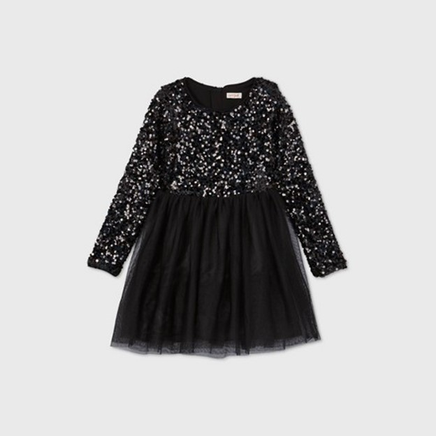 THE LONG SLEEVE SEQUIN TULLE DRESS