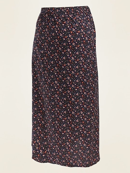 Old Navy Maternity Floral Print Midi Slip Skirt in Navy Blue Print - $32.99