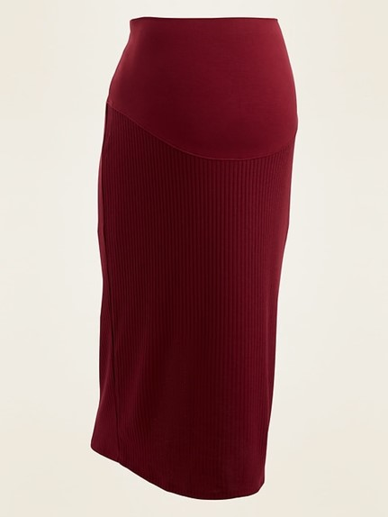 THE MATERNITY FULL PANEL RIB-KNIT MIDI SKIRT