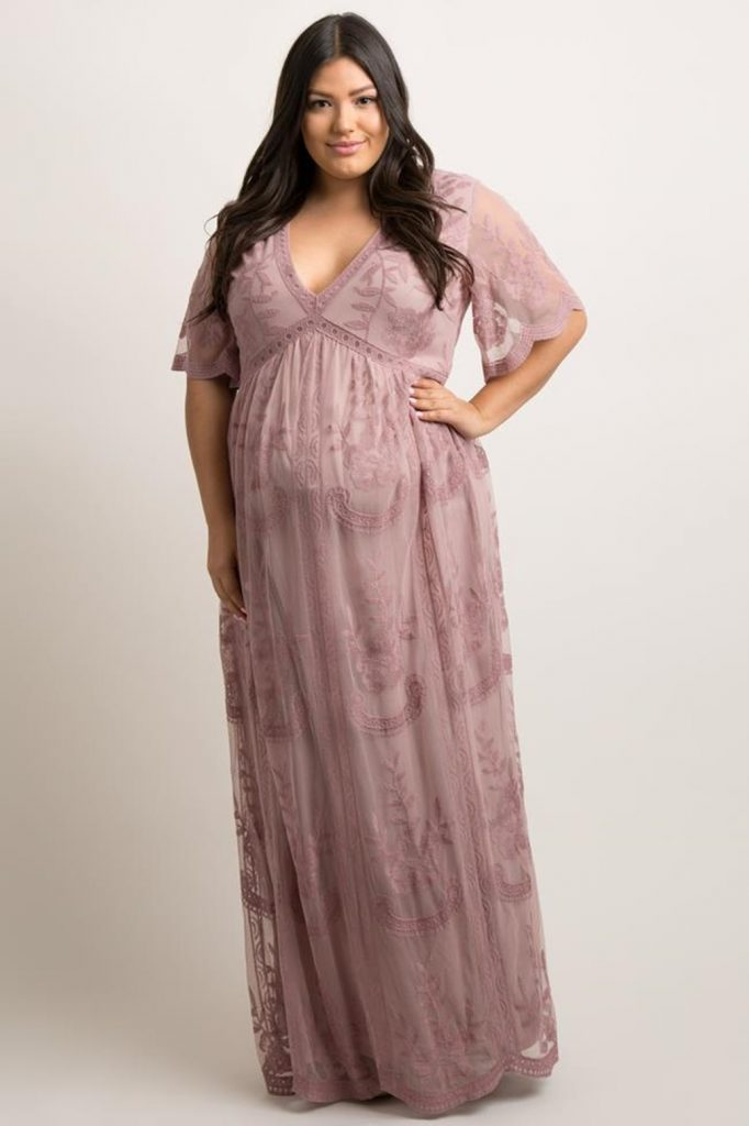 Pink Blush Mauve Lace Mesh Overlay Plus Maternity Maxi Dress - $95.00