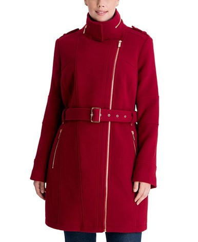 THE MICHAEL MICHAEL KORS PLUS SIZE ASYMMETRICAL BELTED COAT