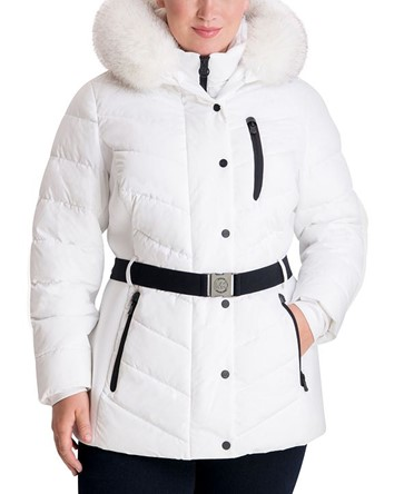 THE MICHAEL MICHAEL KORS PLUS SIZE BELTED FAUX-FUR TRIM HOODED PUFFER COAT