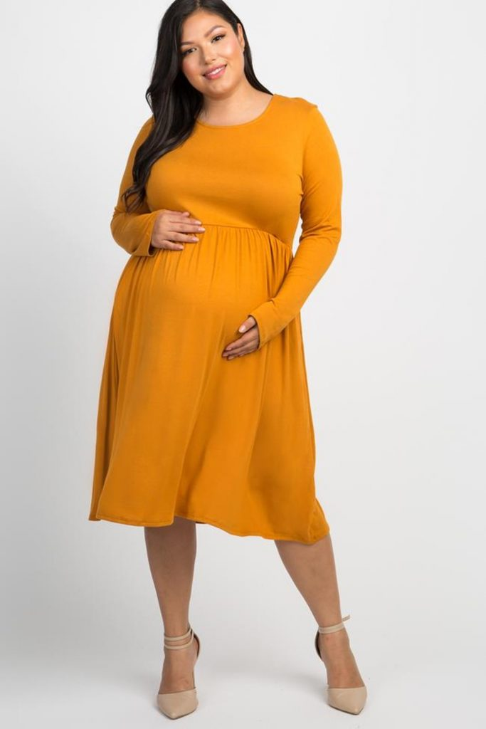 THE MUSTARD LONG SLEEVE PLUS MATERNITY DRESS