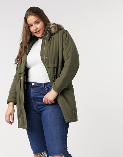 THE NEW LOOK CURVE LONG-LINE PARKA JACKET IN KHAKI