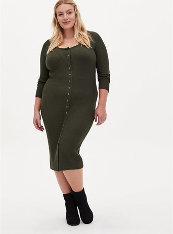 Torrid Olive Ribbed Button-Front Bodycon Dress - $69.50