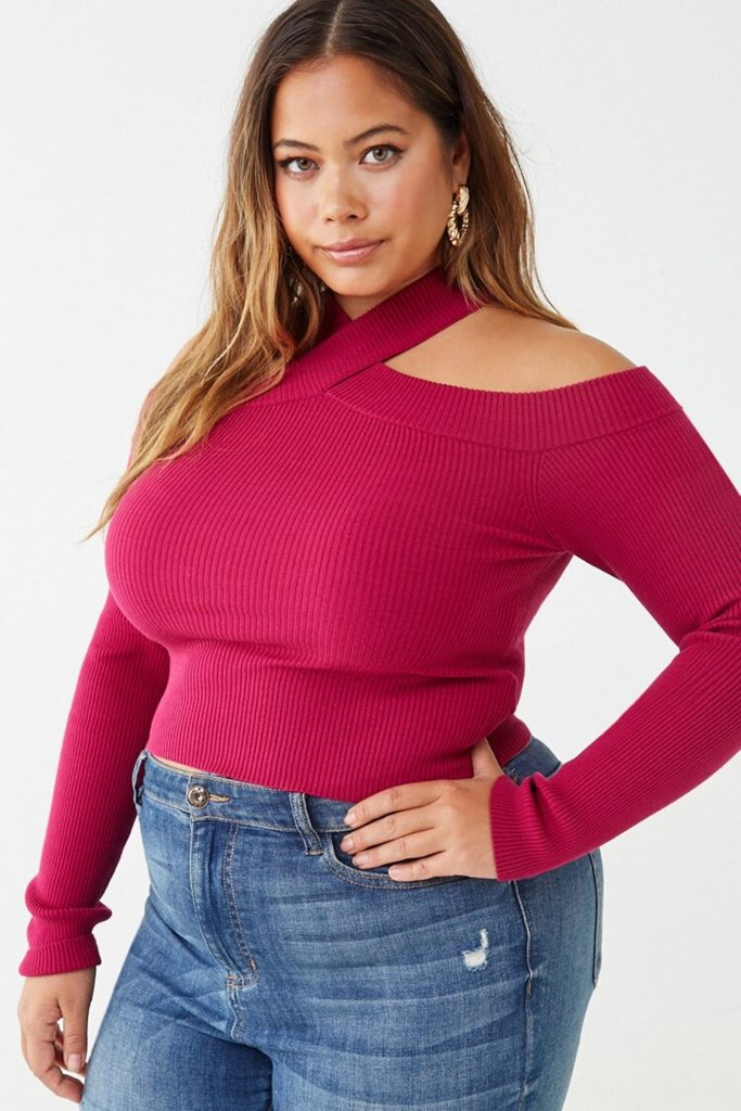 THE PLUS SIZE OPEN SHOULDER SWEATER