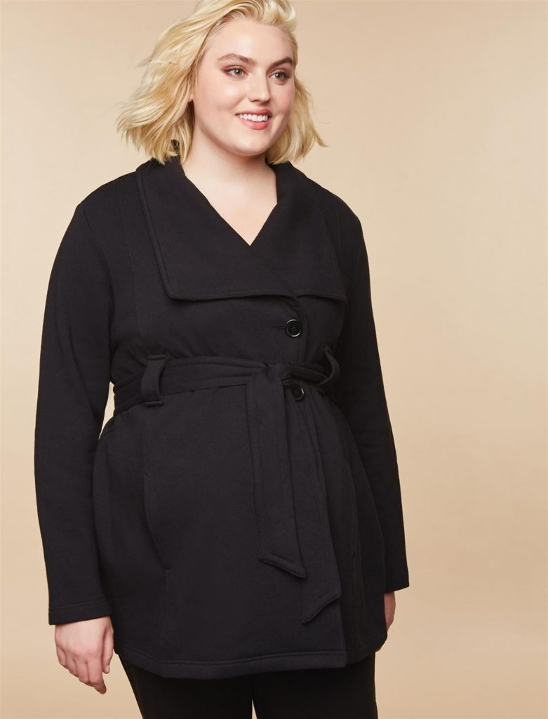 THE PLUS SIZE REMOVABLE WAIST TIE FRENCH TERRY MATERNITY PEACOAT