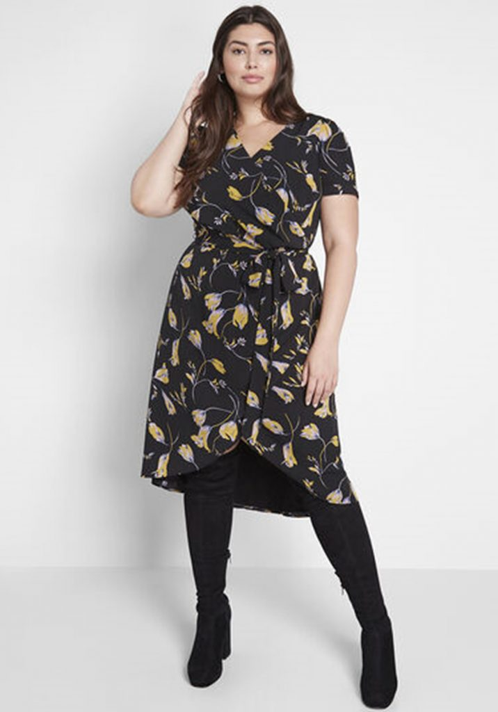 ModCloth Poetic Presence Faux Wrap Dress in Black Floral - $79.99