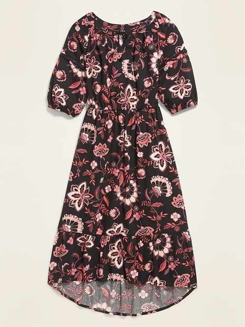 THE PRINTED TIERED MIDI DRESS FOR GIRLS