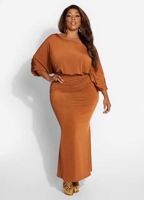 Ashley Stewart Ruched Draped Bodycon Dress in Mocha - $59.50
