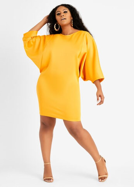 Ashley Stewart Scuba Cape Sheath Dress in Sunflower - $59.50