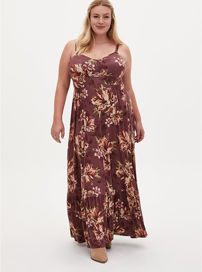 Torrid Super Soft Brown Floral Maxi Dress - $79.50