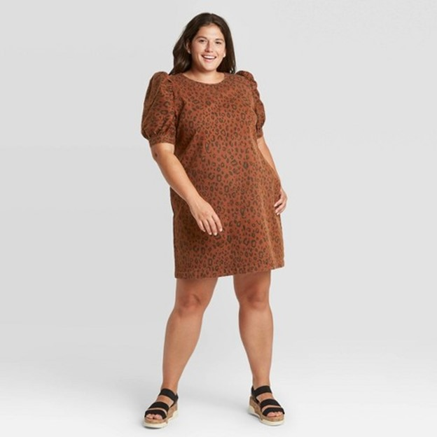 Target Universal Thread Women's Puff Short Sleeve Structured Denim Dress in Brown - $34.99