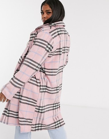 THE WEDNESDAY'S GIRL CURVE LONGLINE TAILORED COAT IN PASTEL CHECK