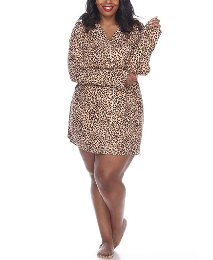 THE WHITE MARK PLUS SIZE LONG SLEEVE NIGHTGOWN