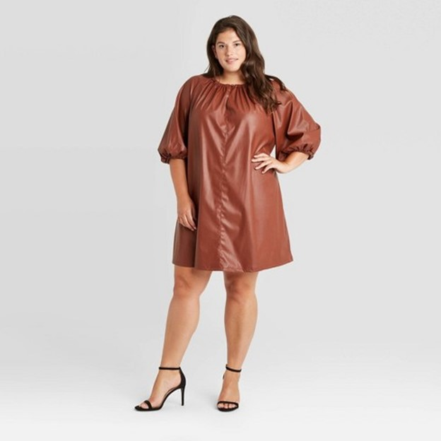Target Who What Wear Women's Faux Leather Balloon Long Sleeve Shift Dress - $39.99