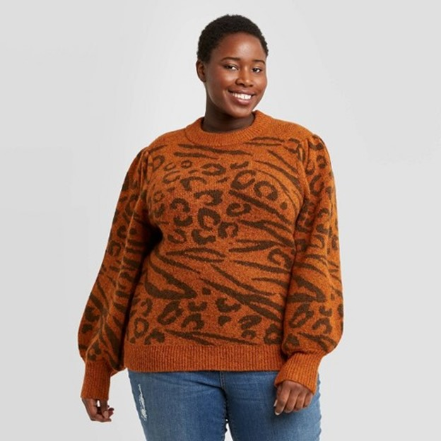 THE WOMENS PLUS SIZE CREWNECK PUFF SLEEVE PULLOVER SWEATER